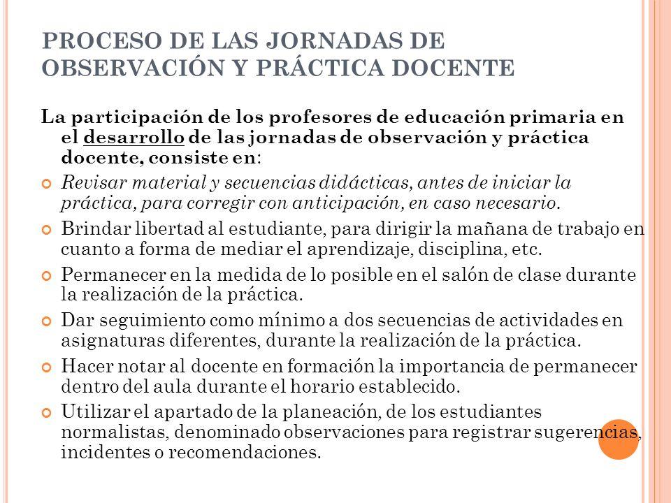 PROCESO DE LAS JORNADAS DE OBSERVACIÓN Y PRÁCTICA DOCENTE La participación de los profesores de educación primaria en el desarrollo de las jornadas de