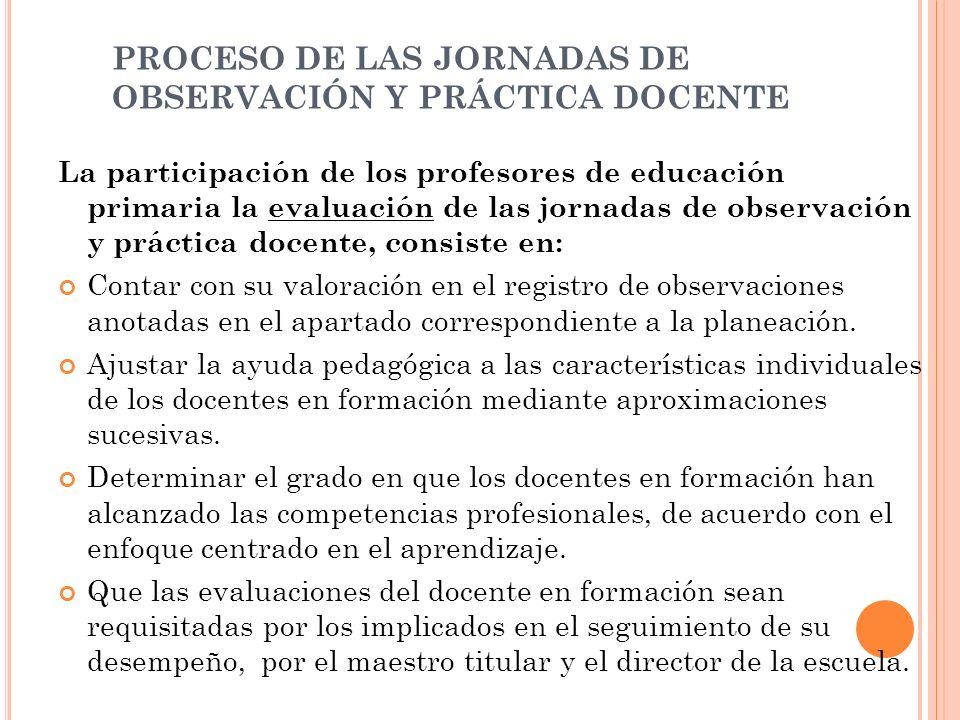 PROCESO DE LAS JORNADAS DE OBSERVACIÓN Y PRÁCTICA DOCENTE La participación de los profesores de educación primaria la evaluación de las jornadas de ob