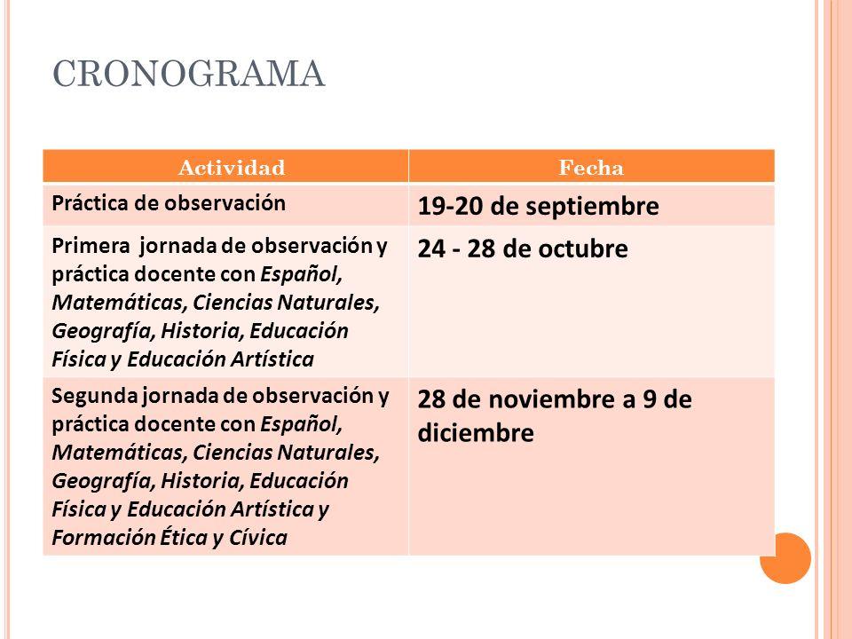 CRONOGRAMA ActividadFecha Práctica de observación 19-20 de septiembre Primera jornada de observación y práctica docente con Español, Matemáticas, Cien