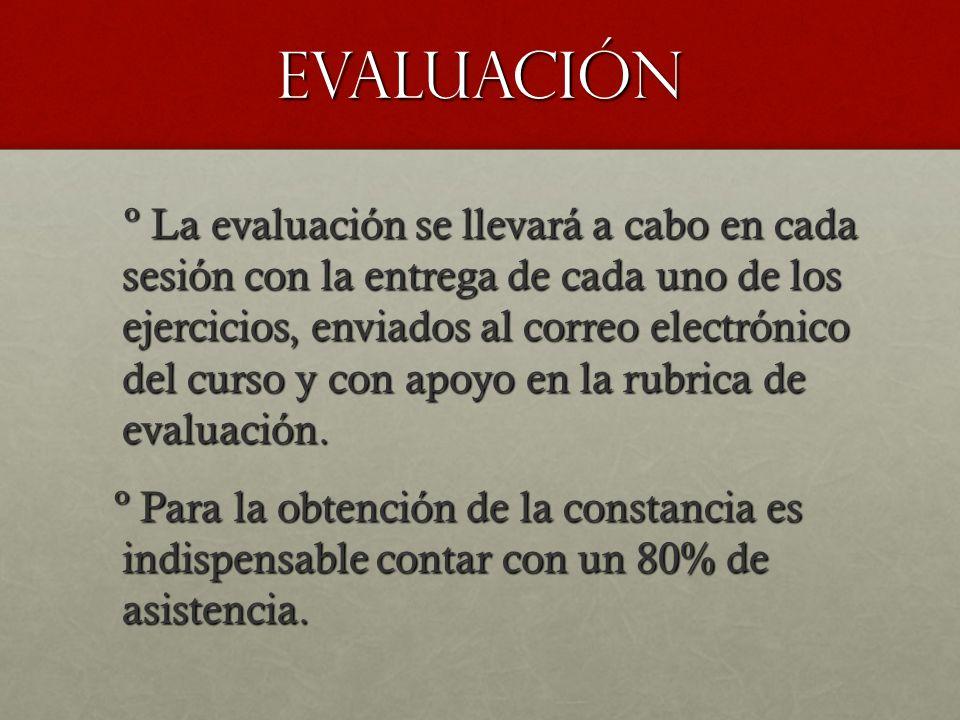 Evaluación º La evaluación se llevará a cabo en cada sesión con la entrega de cada uno de los ejercicios, enviados al correo electrónico del curso y c