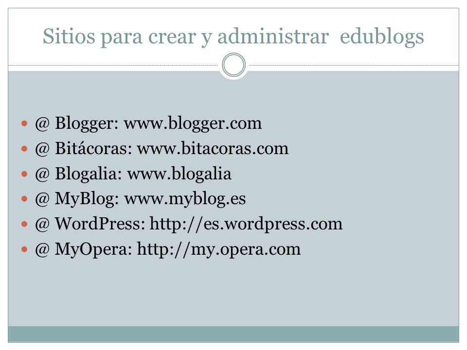 Sitios para crear y administrar edublogs @ Blogger: www.blogger.com @ Bitácoras: www.bitacoras.com @ Blogalia: www.blogalia @ MyBlog: www.myblog.es @