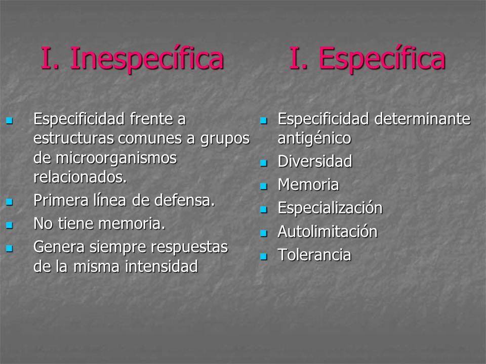 I. Inespecífica I. Específica Especificidad frente a estructuras comunes a grupos de microorganismos relacionados. Especificidad frente a estructuras