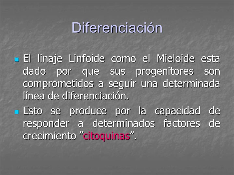 Diferenciación El linaje Linfoide como el Mieloide esta dado por que sus progenitores son comprometidos a seguir una determinada línea de diferenciaci