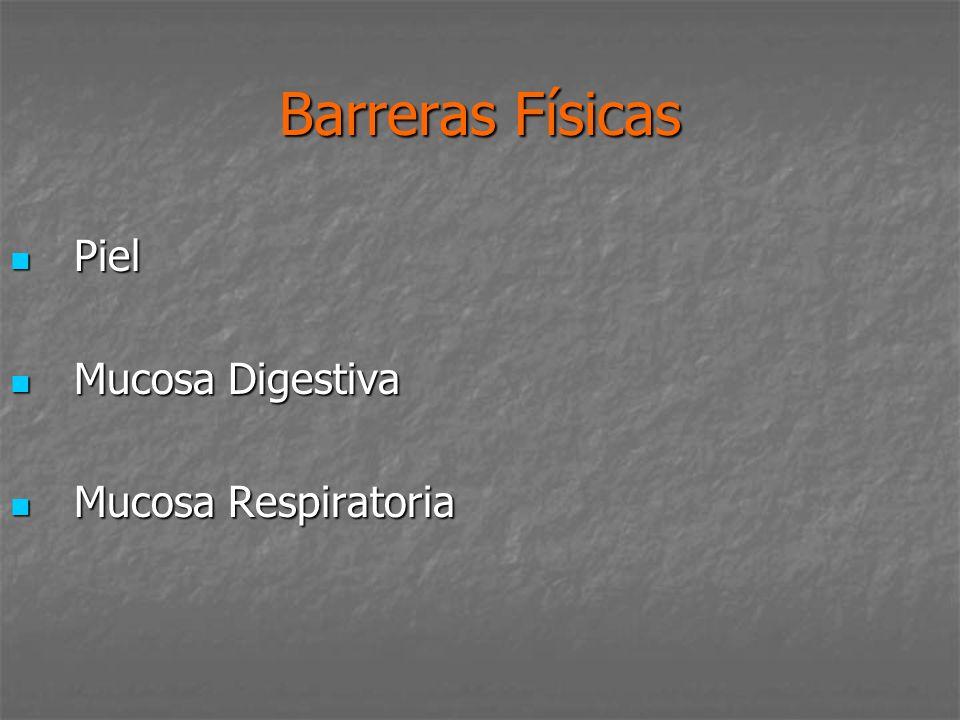 Barreras Físicas Piel Piel Mucosa Digestiva Mucosa Digestiva Mucosa Respiratoria Mucosa Respiratoria