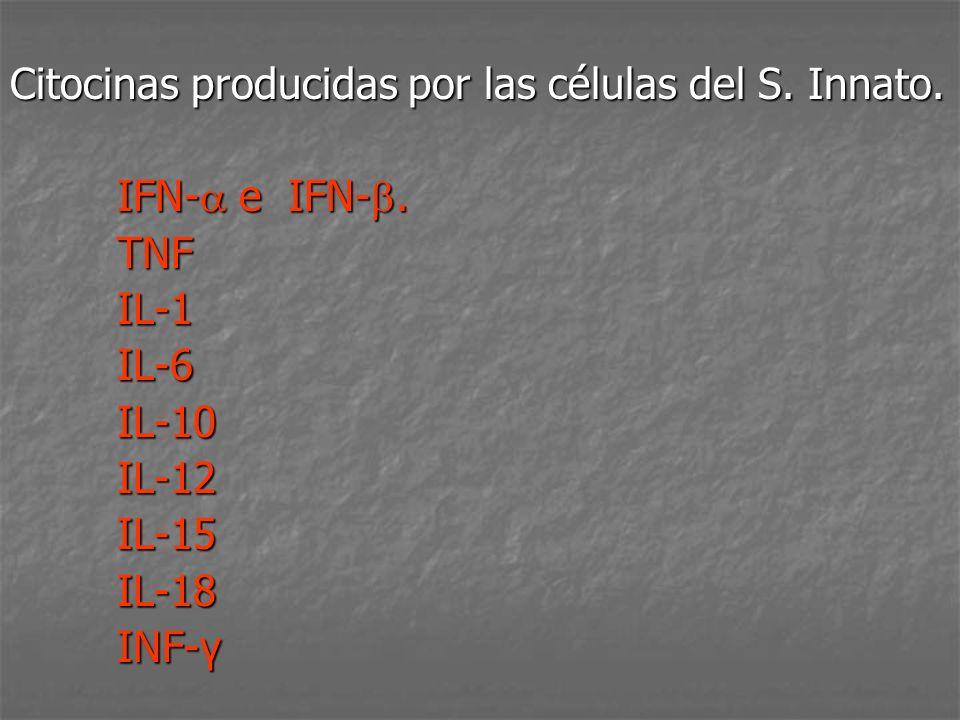 Citocinas producidas por las células del S. Innato. IFN- e IFN-. IFN- e IFN-. TNF TNF IL-1 IL-1 IL-6 IL-6 IL-10 IL-10 IL-12 IL-12 IL-15 IL-15 IL-18 IL