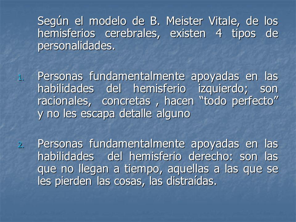 Según el modelo de B. Meister Vitale, de los hemisferios cerebrales, existen 4 tipos de personalidades. 1. Personas fundamentalmente apoyadas en las h