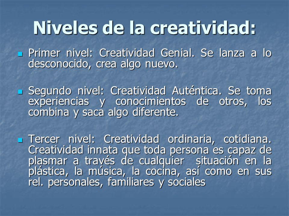 Niveles de la creatividad: Primer nivel: Creatividad Genial. Se lanza a lo desconocido, crea algo nuevo. Primer nivel: Creatividad Genial. Se lanza a