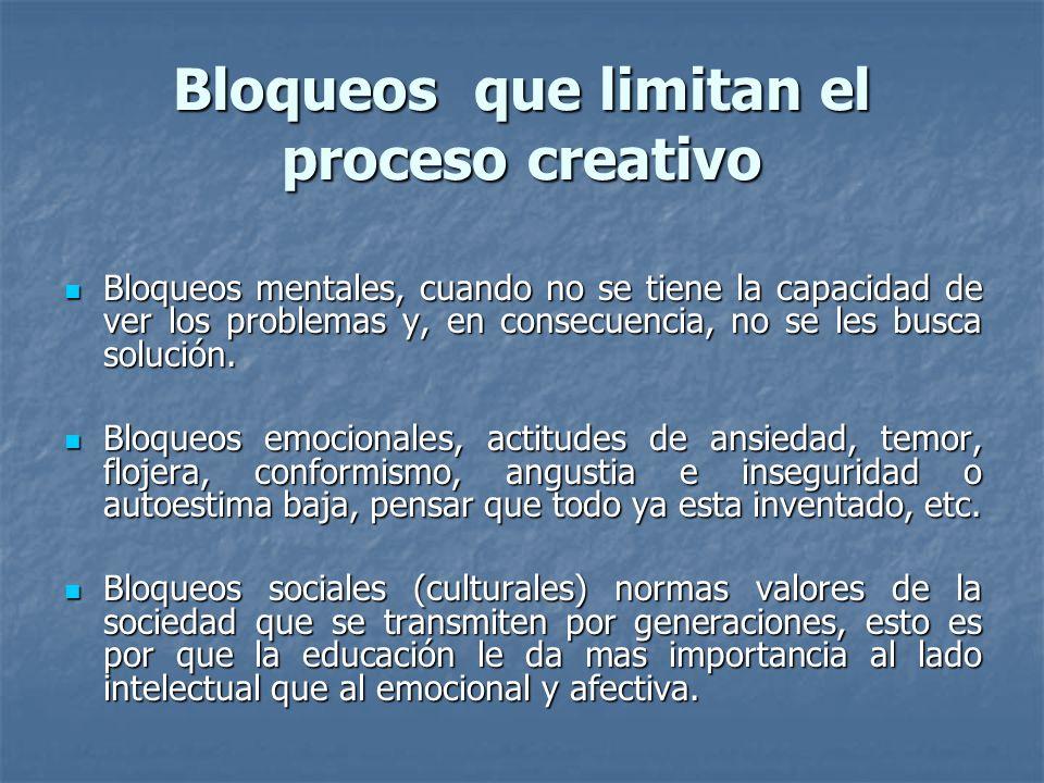 Bloqueos que limitan el proceso creativo Bloqueos mentales, cuando no se tiene la capacidad de ver los problemas y, en consecuencia, no se les busca s