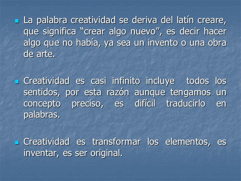 La palabra creatividad se deriva del latín creare, que significa crear algo nuevo, es decir hacer algo que no había, ya sea un invento o una obra de a