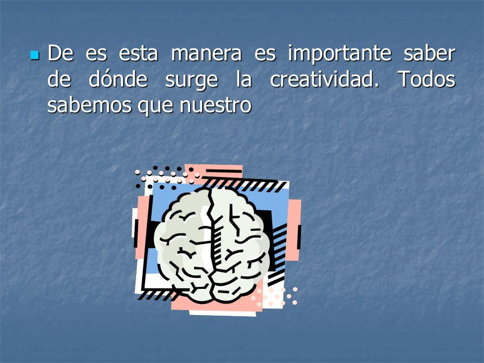 De es esta manera es importante saber de dónde surge la creatividad. Todos sabemos que nuestro De es esta manera es importante saber de dónde surge la