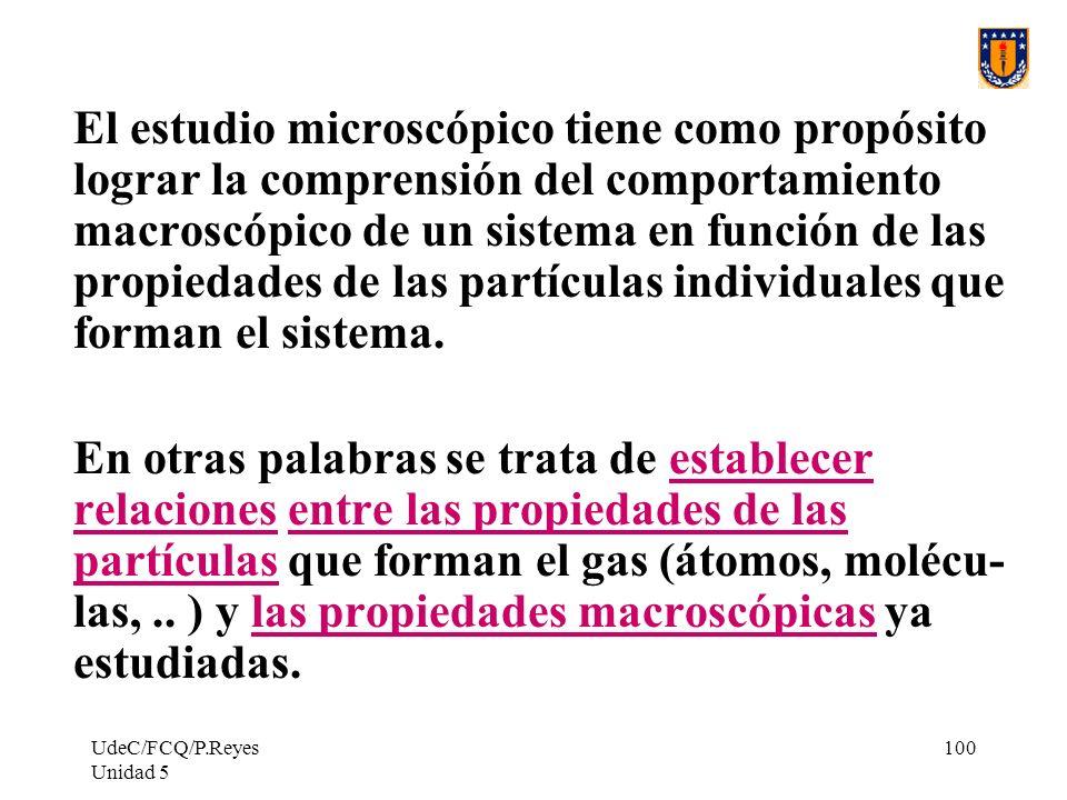 UdeC/FCQ/P.Reyes Unidad 5 100 El estudio microscópico tiene como propósito lograr la comprensión del comportamiento macroscópico de un sistema en función de las propiedades de las partículas individuales que forman el sistema.