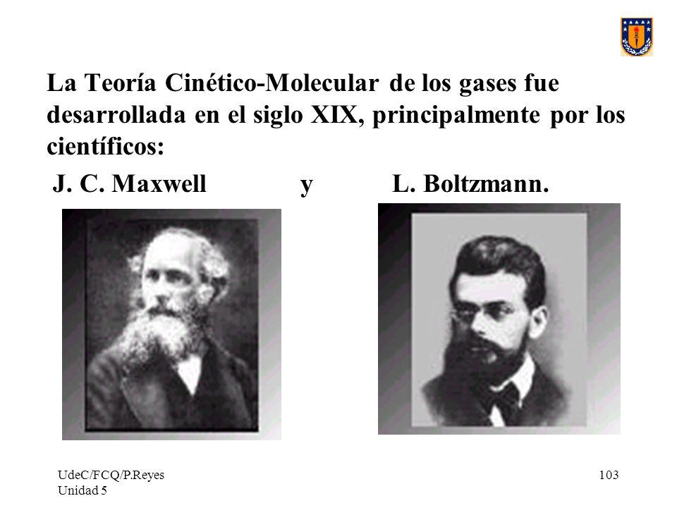 UdeC/FCQ/P.Reyes Unidad 5 103 La Teoría Cinético-Molecular de los gases fue desarrollada en el siglo XIX, principalmente por los científicos: J.