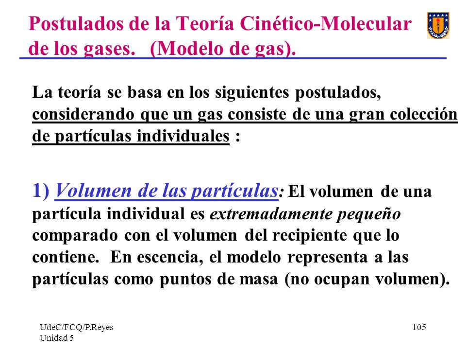 UdeC/FCQ/P.Reyes Unidad 5 105 Postulados de la Teoría Cinético-Molecular de los gases.