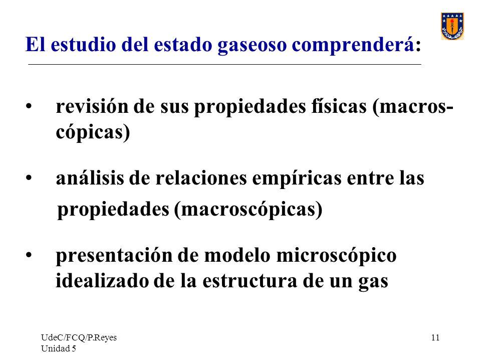 UdeC/FCQ/P.Reyes Unidad 5 11 El estudio del estado gaseoso comprenderá: revisión de sus propiedades físicas (macros- cópicas) análisis de relaciones empíricas entre las propiedades (macroscópicas) presentación de modelo microscópico idealizado de la estructura de un gas