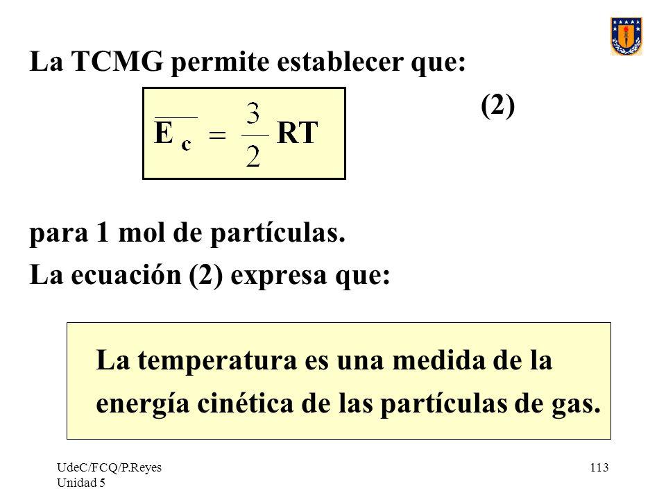 UdeC/FCQ/P.Reyes Unidad 5 113 La TCMG permite establecer que: (2) para 1 mol de partículas.