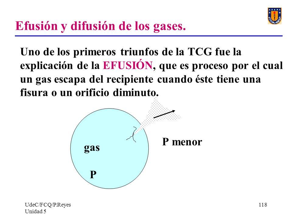 UdeC/FCQ/P.Reyes Unidad 5 118 Efusión y difusión de los gases.