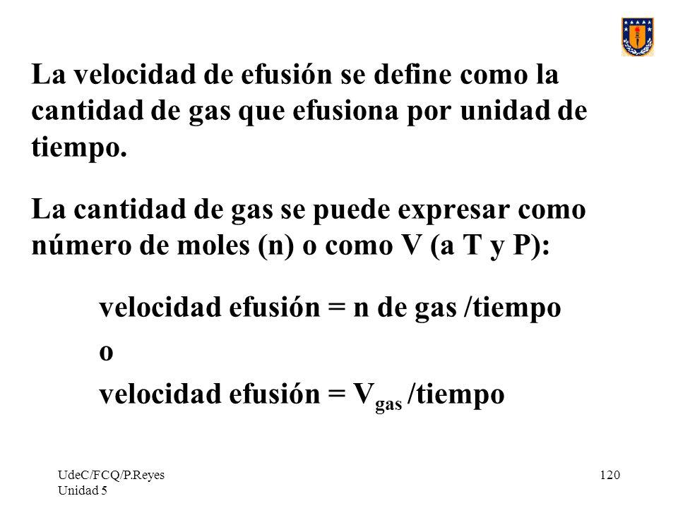 UdeC/FCQ/P.Reyes Unidad 5 120 La velocidad de efusión se define como la cantidad de gas que efusiona por unidad de tiempo.