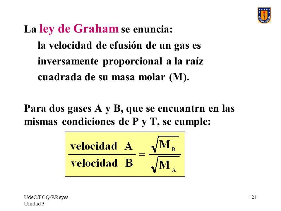 UdeC/FCQ/P.Reyes Unidad 5 121 La ley de Graham se enuncia: la velocidad de efusión de un gas es inversamente proporcional a la raíz cuadrada de su masa molar (M).