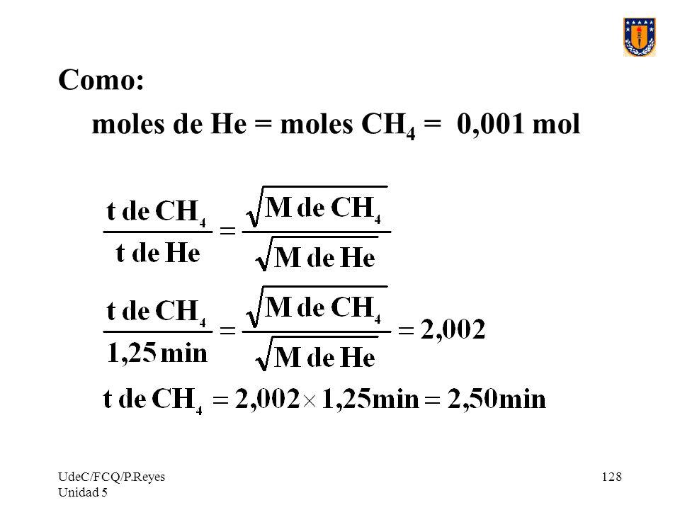 UdeC/FCQ/P.Reyes Unidad 5 128 Como: moles de He = moles CH 4 = 0,001 mol