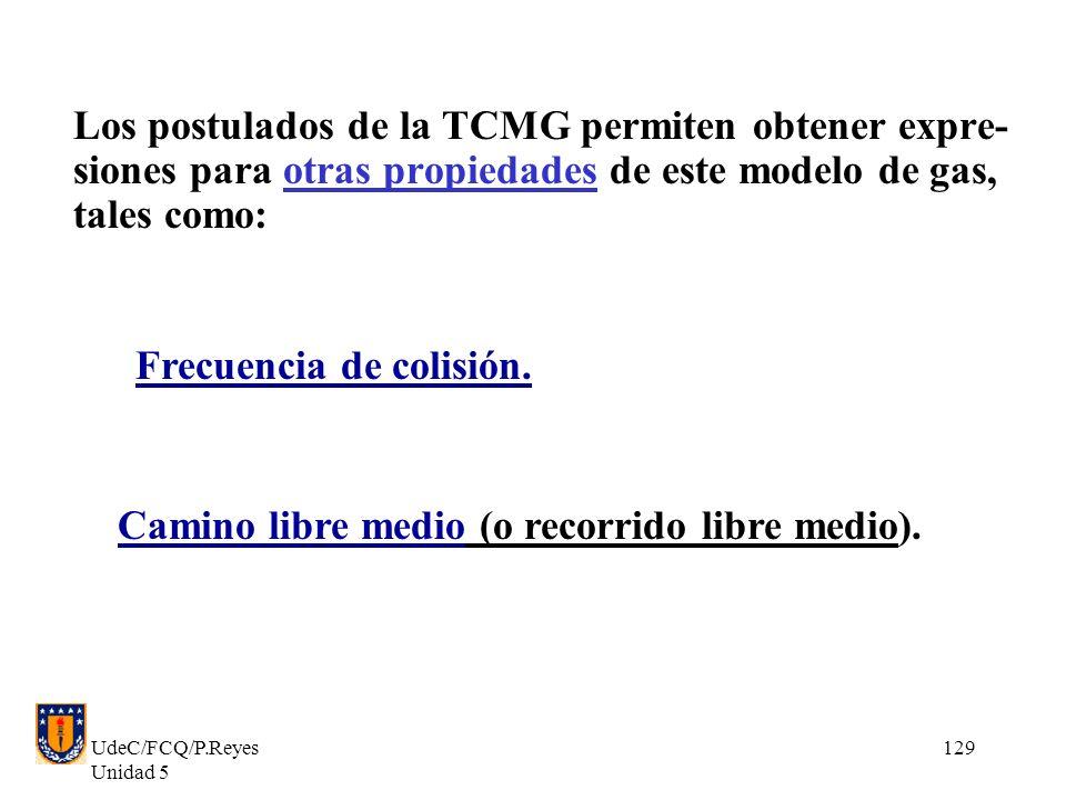 UdeC/FCQ/P.Reyes Unidad 5 129 Los postulados de la TCMG permiten obtener expre- siones para otras propiedades de este modelo de gas, tales como: Frecuencia de colisión.