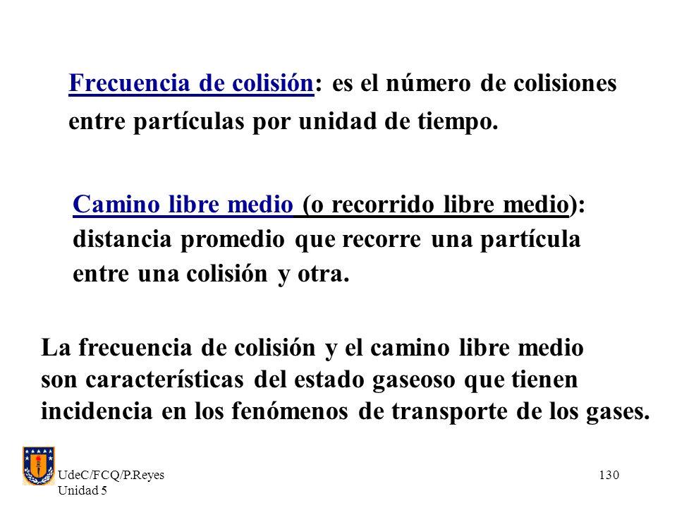 UdeC/FCQ/P.Reyes Unidad 5 130 Frecuencia de colisión: es el número de colisiones entre partículas por unidad de tiempo.
