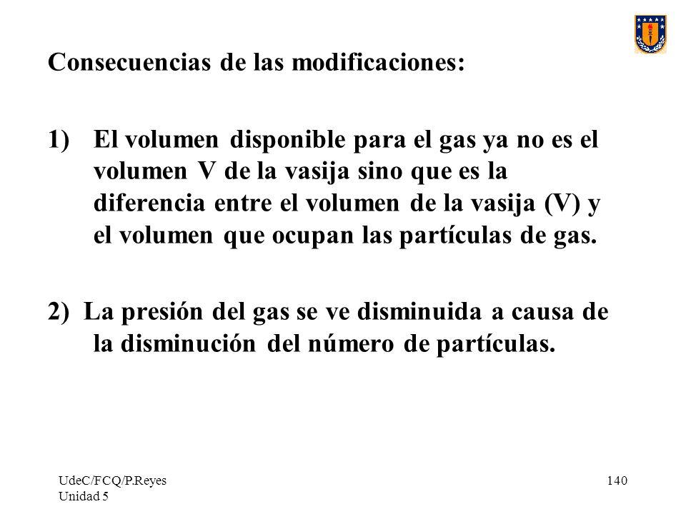 UdeC/FCQ/P.Reyes Unidad 5 140 Consecuencias de las modificaciones: 1)El volumen disponible para el gas ya no es el volumen V de la vasija sino que es la diferencia entre el volumen de la vasija (V) y el volumen que ocupan las partículas de gas.
