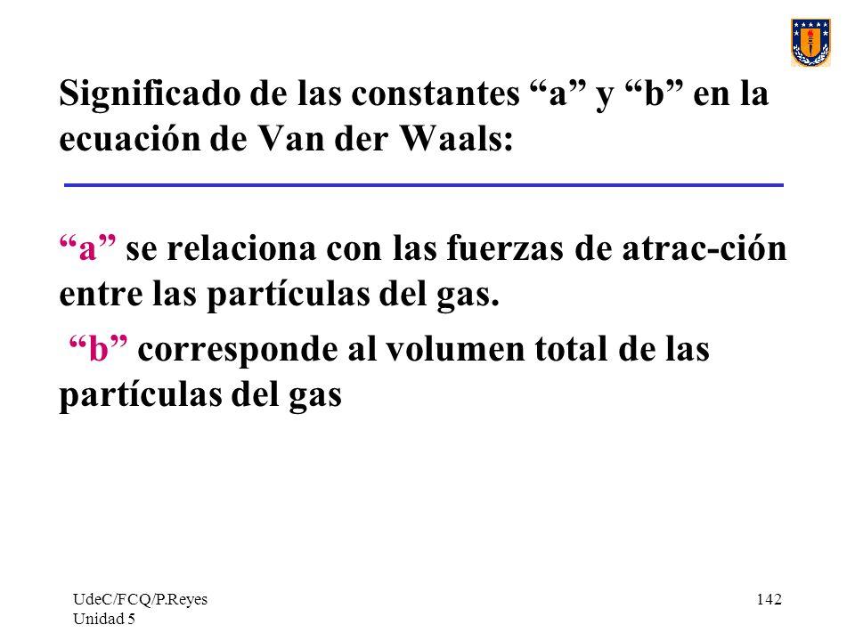UdeC/FCQ/P.Reyes Unidad 5 142 Significado de las constantes a y b en la ecuación de Van der Waals: a se relaciona con las fuerzas de atrac-ción entre las partículas del gas.