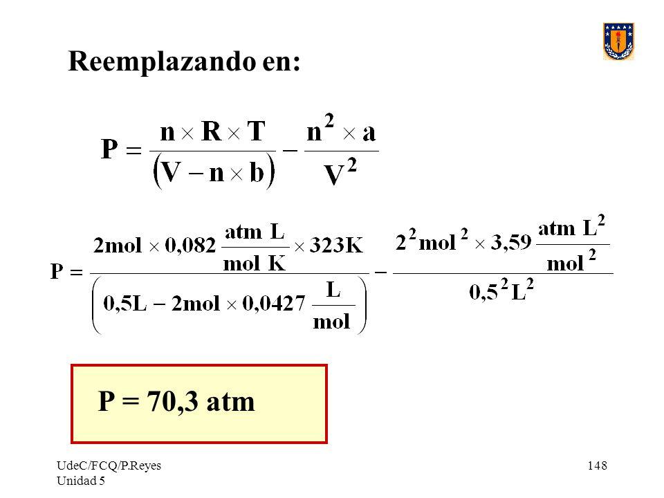 UdeC/FCQ/P.Reyes Unidad 5 148 Reemplazando en: P = 70,3 atm