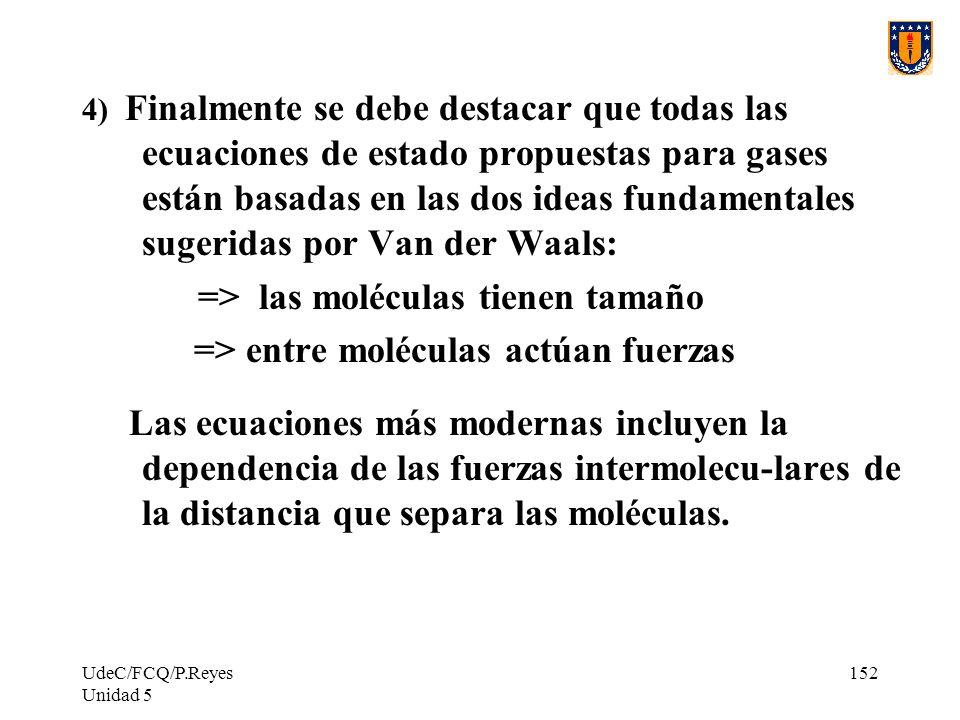 UdeC/FCQ/P.Reyes Unidad 5 152 4) Finalmente se debe destacar que todas las ecuaciones de estado propuestas para gases están basadas en las dos ideas fundamentales sugeridas por Van der Waals: => las moléculas tienen tamaño => entre moléculas actúan fuerzas Las ecuaciones más modernas incluyen la dependencia de las fuerzas intermolecu-lares de la distancia que separa las moléculas.