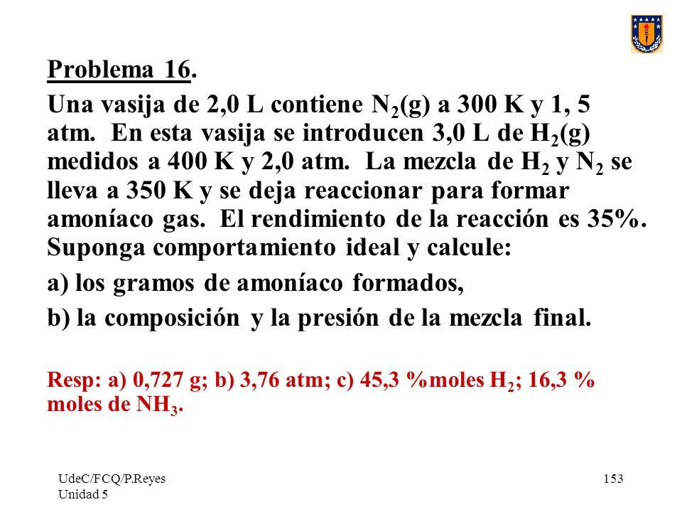 UdeC/FCQ/P.Reyes Unidad 5 153 Problema 16.Una vasija de 2,0 L contiene N 2 (g) a 300 K y 1, 5 atm.