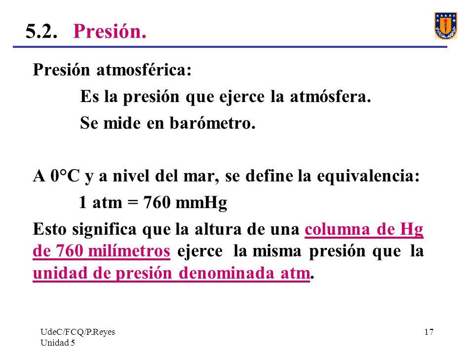 UdeC/FCQ/P.Reyes Unidad 5 17 5.2.Presión.