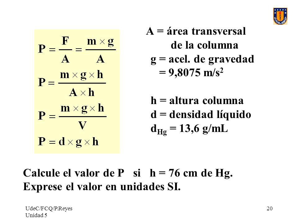 UdeC/FCQ/P.Reyes Unidad 5 20 A = área transversal de la columna g = acel.