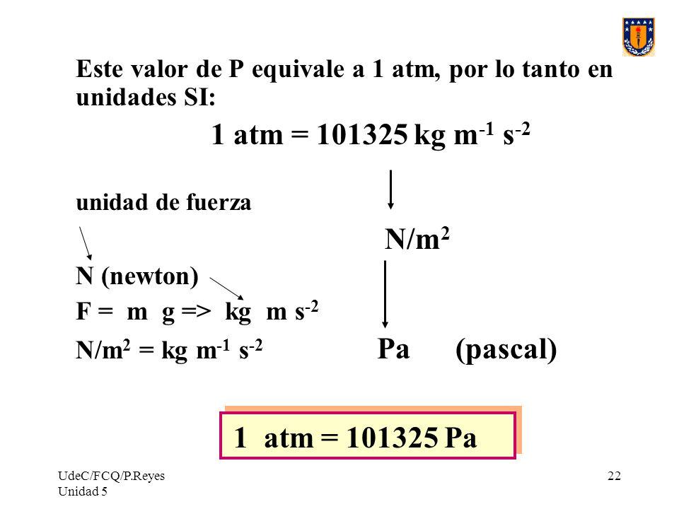 UdeC/FCQ/P.Reyes Unidad 5 22 Este valor de P equivale a 1 atm, por lo tanto en unidades SI: 1 atm = 101325 kg m -1 s -2 unidad de fuerza N/m 2 N (newton) F = m g => kg m s -2 N/m 2 = kg m -1 s -2 Pa (pascal) 1 atm = 101325 Pa