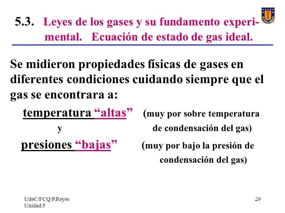 UdeC/FCQ/P.Reyes Unidad 5 29 5.3.Leyes de los gases y su fundamento experi- mental.