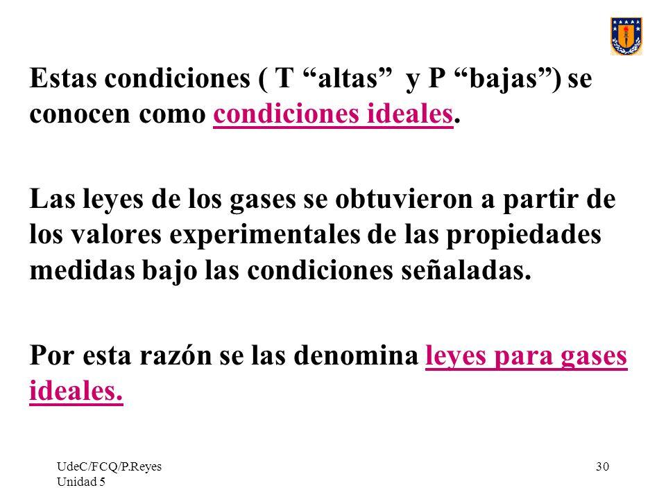 UdeC/FCQ/P.Reyes Unidad 5 30 Estas condiciones ( T altas y P bajas) se conocen como condiciones ideales.