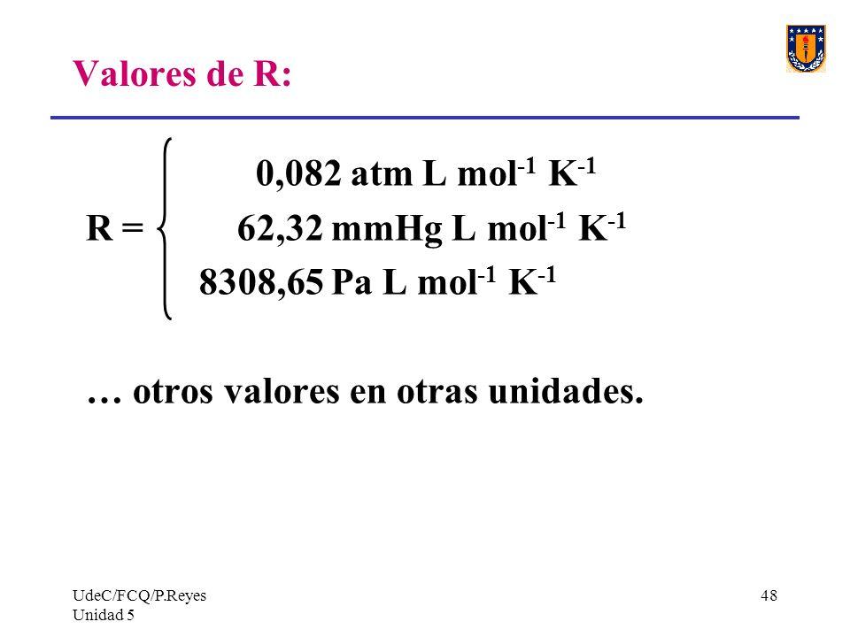 UdeC/FCQ/P.Reyes Unidad 5 48 Valores de R: 0,082 atm L mol -1 K -1 R = 62,32 mmHg L mol -1 K -1 8308,65 Pa L mol -1 K -1 … otros valores en otras unidades.