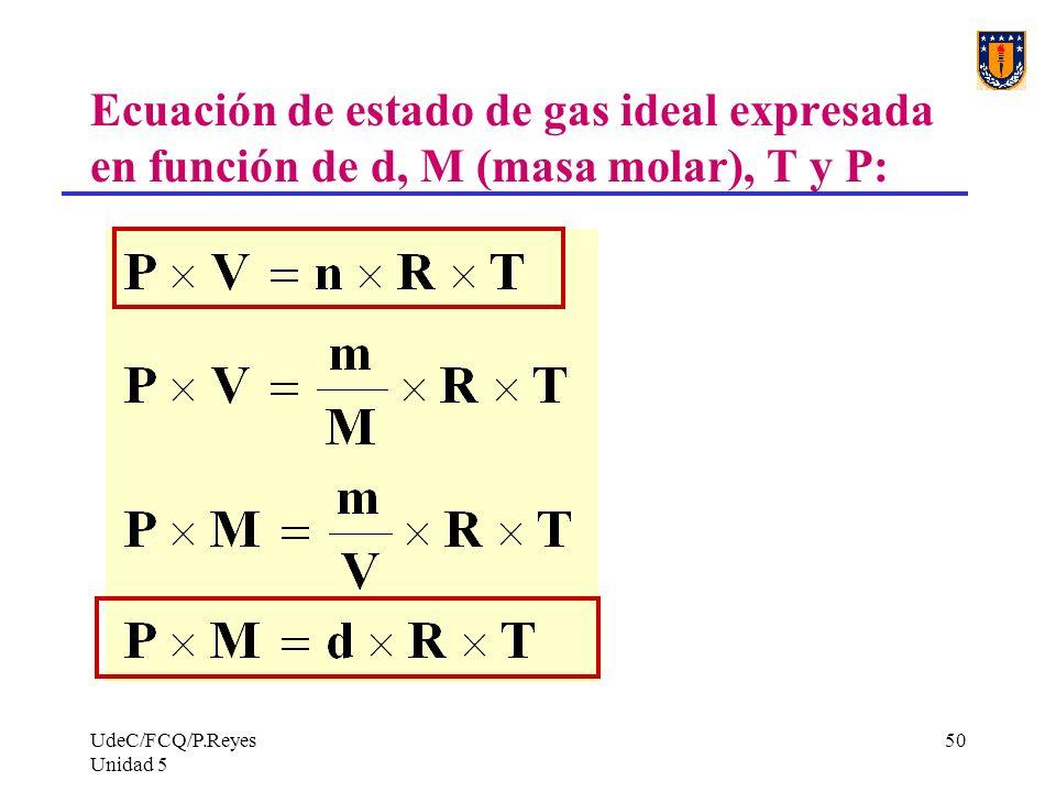 UdeC/FCQ/P.Reyes Unidad 5 50 Ecuación de estado de gas ideal expresada en función de d, M (masa molar), T y P: