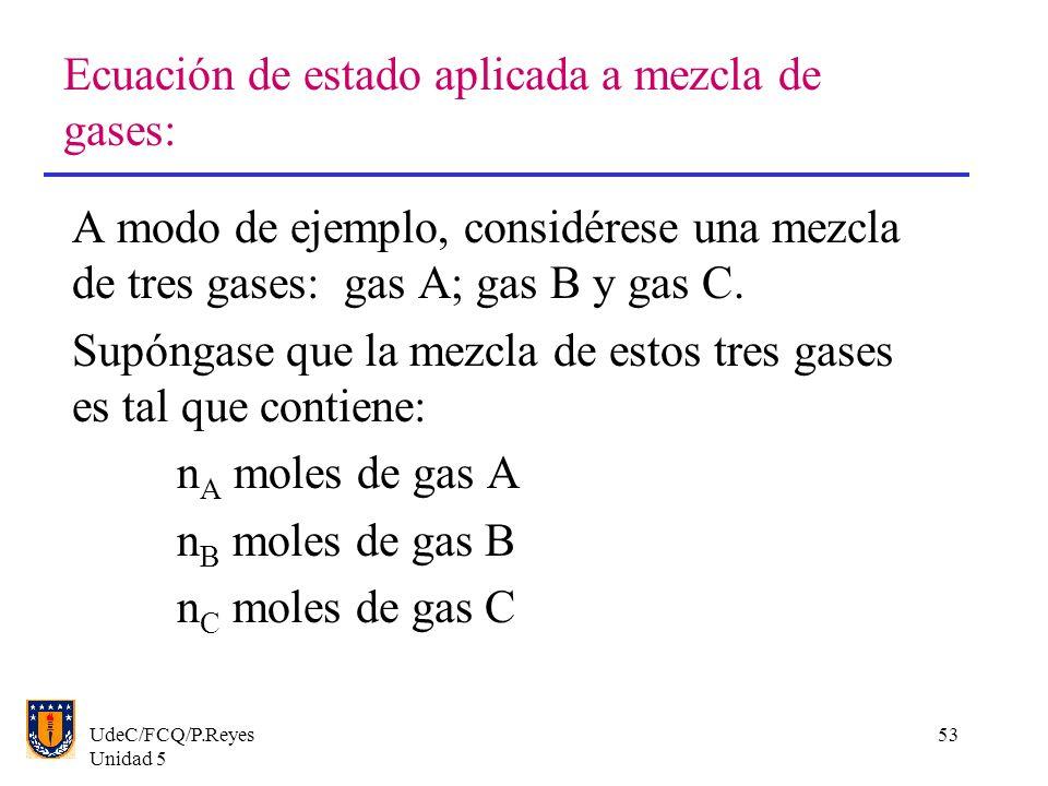 UdeC/FCQ/P.Reyes Unidad 5 53 Ecuación de estado aplicada a mezcla de gases: A modo de ejemplo, considérese una mezcla de tres gases: gas A; gas B y gas C.
