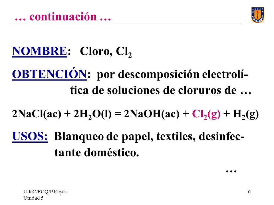 UdeC/FCQ/P.Reyes Unidad 5 6 … continuación … NOMBRE: Cloro, Cl 2 OBTENCIÓN: por descomposición electrolí- tica de soluciones de cloruros de … 2NaCl(ac) + 2H 2 O(l) = 2NaOH(ac) + Cl 2 (g) + H 2 (g) USOS: Blanqueo de papel, textiles, desinfec- tante doméstico.