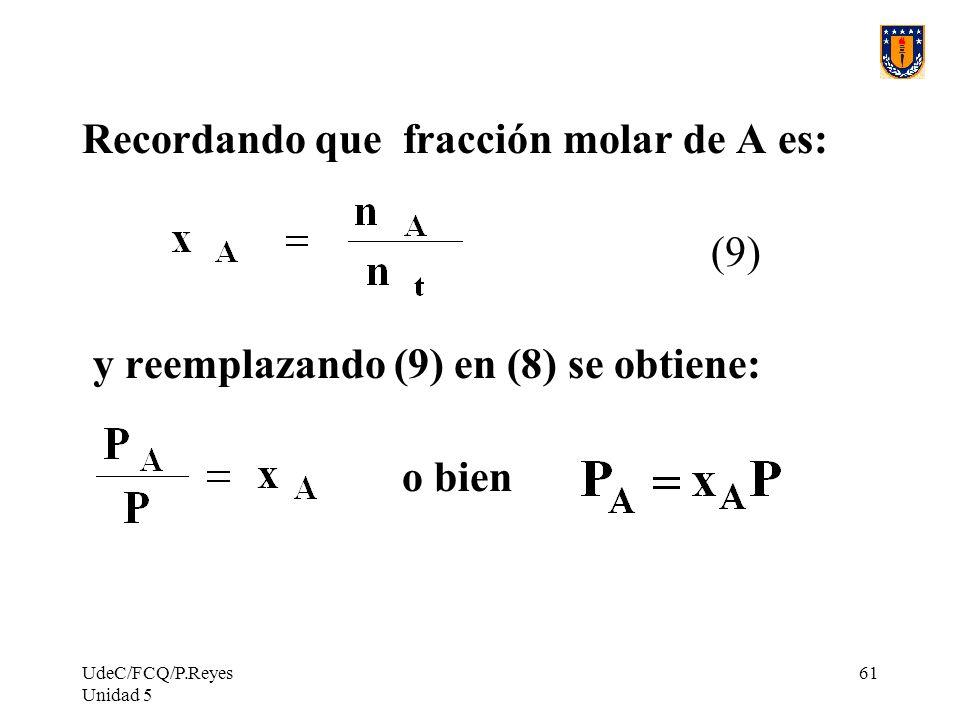 UdeC/FCQ/P.Reyes Unidad 5 61 Recordando que fracción molar de A es: (9) y reemplazando (9) en (8) se obtiene: o bien