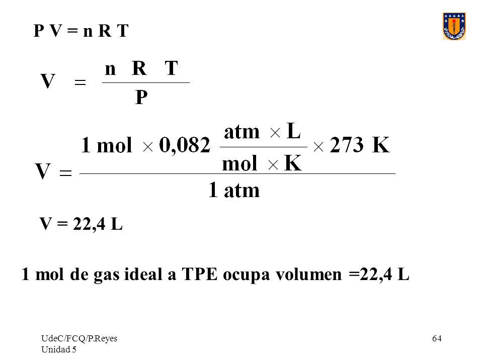 UdeC/FCQ/P.Reyes Unidad 5 64 P V = n R T V = 22,4 L 1 mol de gas ideal a TPE ocupa volumen =22,4 L