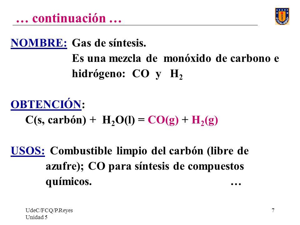 UdeC/FCQ/P.Reyes Unidad 5 7 … continuación … NOMBRE: Gas de síntesis.