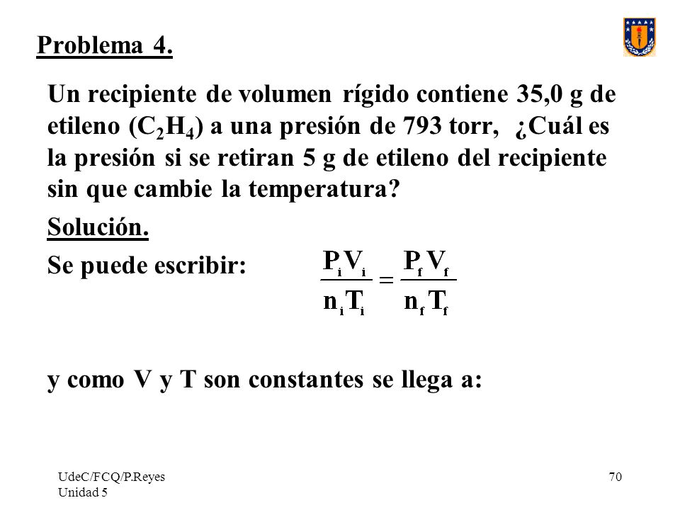 UdeC/FCQ/P.Reyes Unidad 5 70 Problema 4.