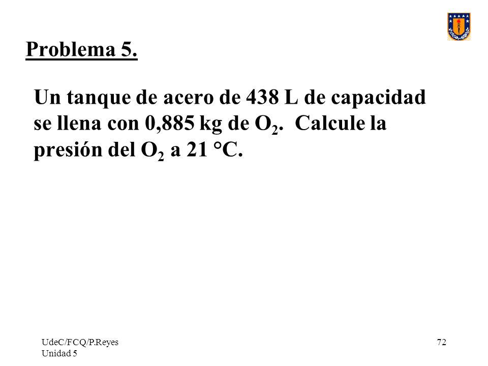 UdeC/FCQ/P.Reyes Unidad 5 72 Problema 5.