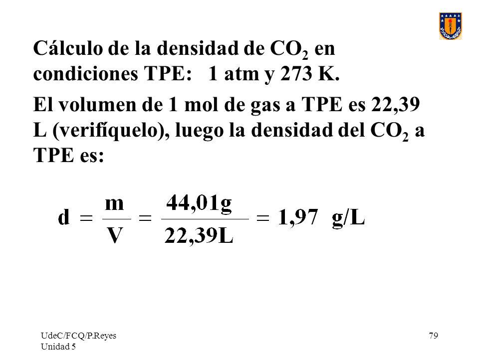 UdeC/FCQ/P.Reyes Unidad 5 79 Cálculo de la densidad de CO 2 en condiciones TPE: 1 atm y 273 K.