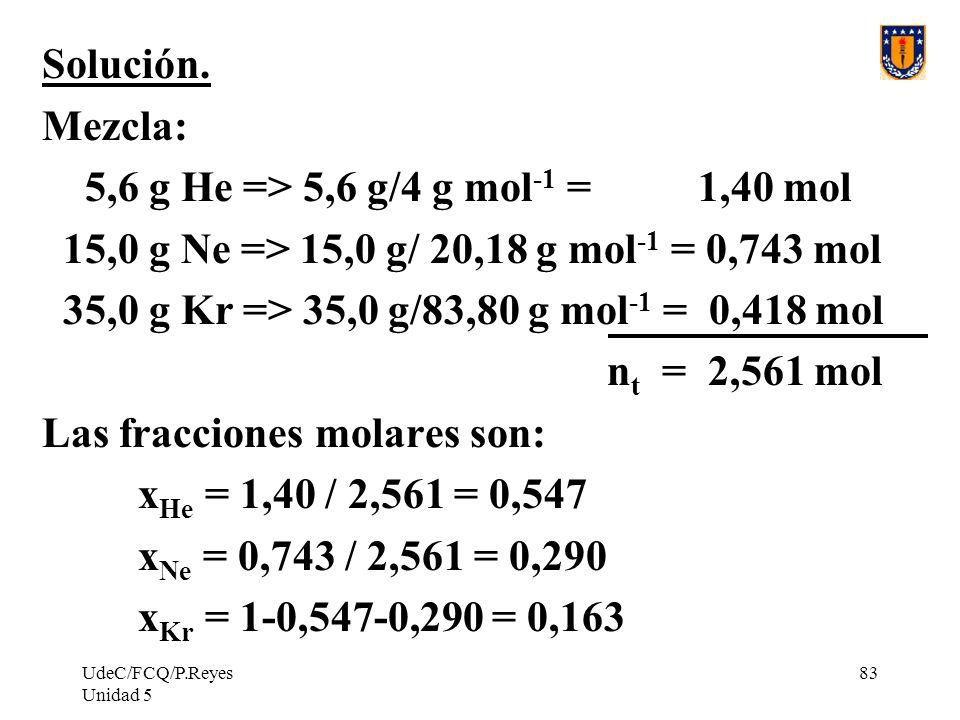 UdeC/FCQ/P.Reyes Unidad 5 83 Solución.