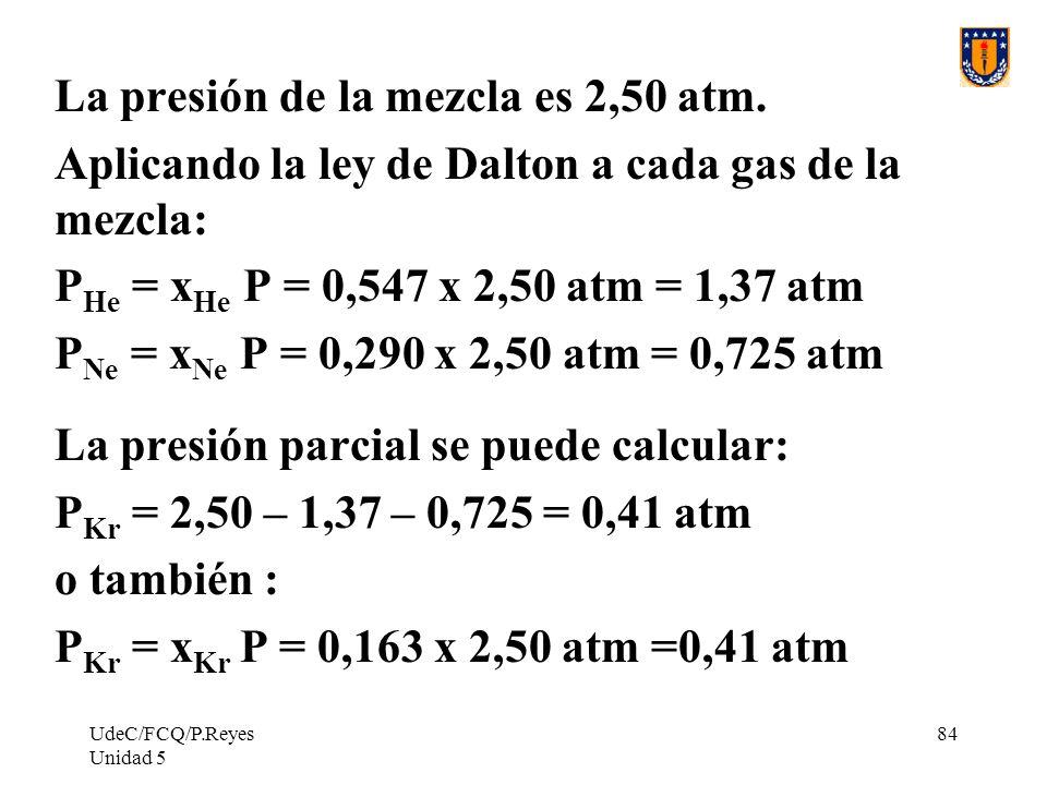 UdeC/FCQ/P.Reyes Unidad 5 84 La presión de la mezcla es 2,50 atm.