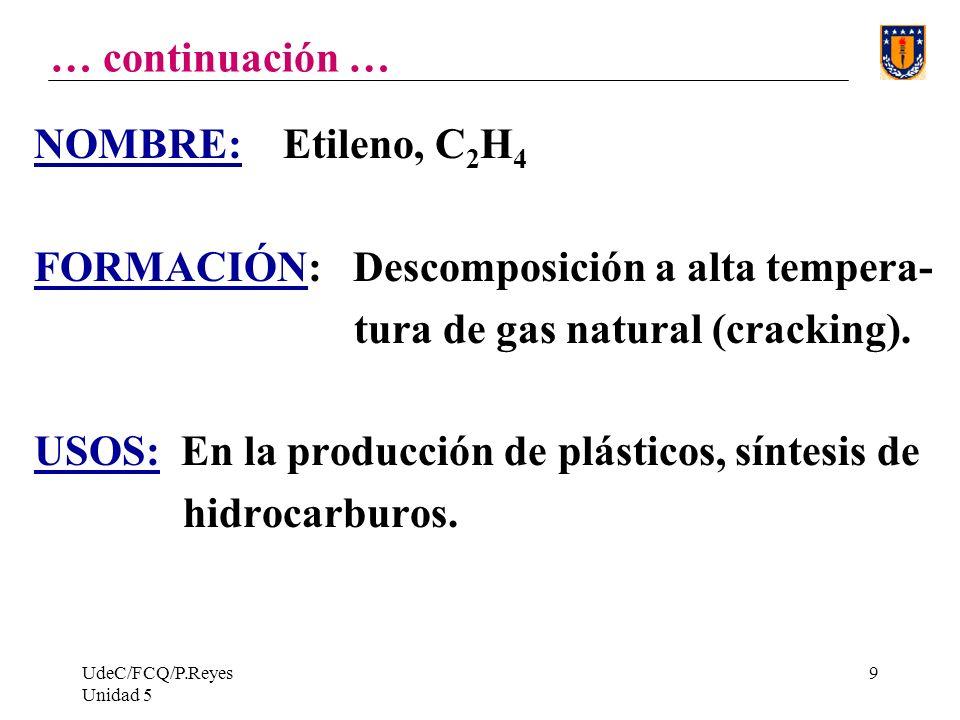 UdeC/FCQ/P.Reyes Unidad 5 9 … continuación … NOMBRE: Etileno, C 2 H 4 FORMACIÓN: Descomposición a alta tempera- tura de gas natural (cracking).