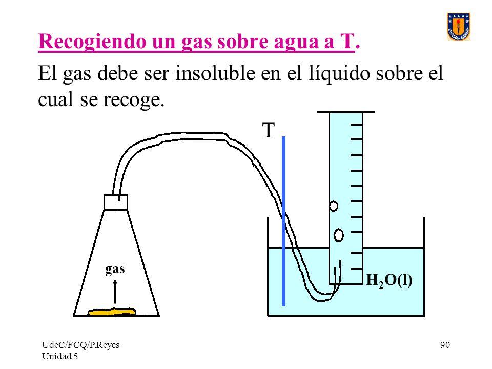 UdeC/FCQ/P.Reyes Unidad 5 90 Recogiendo un gas sobre agua a T.