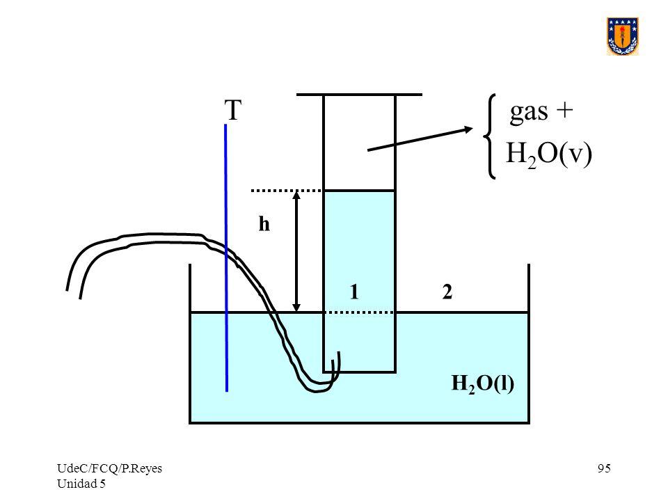 UdeC/FCQ/P.Reyes Unidad 5 95 T gas + H 2 O(v) h 12 H 2 O(l)